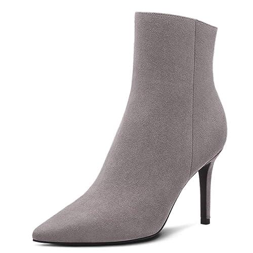 Botines para Mujer Botines De Piel De Oveja Punta Estrecha Zapatos De Tacón Alto De Cuero Genuino Botas para Mujer Zapatos De Oficina De Trabajo: Amazon.es: ...