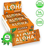 ALOHA Organic Plant Based Protein Bars |Peanut Butter Chocolate Chip | 12 Count, 1.9oz Bars | Vegan, Low Sugar, Gluten Free,