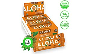 ALOHA Organic Plant Based Protein Bars |Peanut Butter Chocolate Chip | 12 Count, 1.9oz Bars | Vegan, Low Sugar, Gluten Free, Paleo, Low Carb, Non-GMO, Stevia Free, Soy Free
