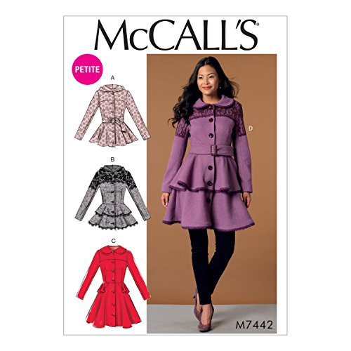 (MCCALLS M7442 (SIZE 14-22) Misses'/Miss Petite Peplum Jackets and Coats with Belt SEWING PATTERNS)