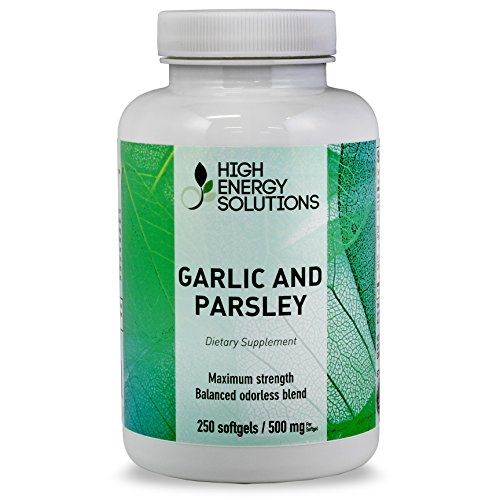 HIGH ENERGY SOLUTIONS Garlic Supplement With Parsley 250 Odorless Softgels Maximum Strength 1500/300 Mg Per Serving – Detoxifier – Energy Booster -Healthy Heart Blood Pressure – Cholesterol Support