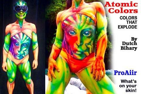 Face Painting Makeup - ProAiir Waterproof Makeup - Set of 6 Atomic UV Colors - 2.1 oz (60ml) by ShowOffs Body Art (Image #2)