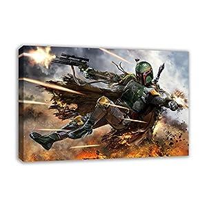 "BOBA FETT STAR WARS VII THE FORCE AWAKENS CANVAS WALL ART (44"" X 26"")"