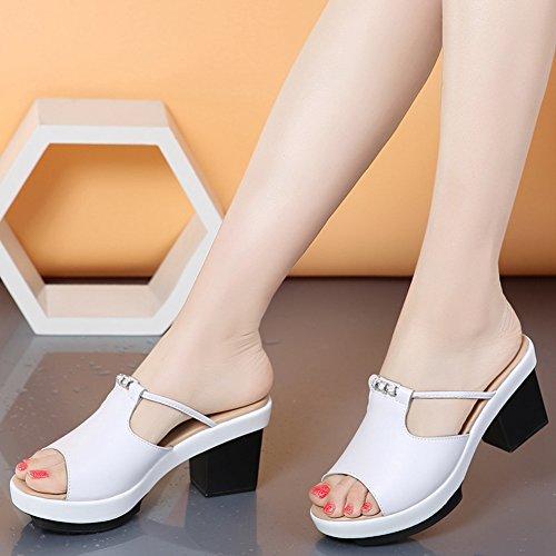 Sandalias De Diapositivas Para Mujer Btrada Moda Sandalias De Tacón Alto Blanco
