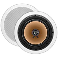 OSD ICE840 8 In-Ceiling/In-Wall Speaker 150W w/Pivoting Titanium Dome Tweeter (White, Pair)