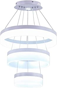 Modern LED Acrylic Chandeliers 3 Rings LED Pendant Lighting Adjustable Aluminum Ceiling Light Fixtures for Kitchen Bedroom Living Room Dining Area(Cool White)