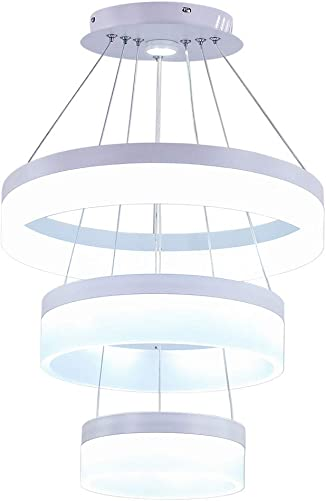 Modern LED Acrylic Chandeliers 3 Rings LED Pendant Lighting Adjustable Aluminum Ceiling Light Fixtures