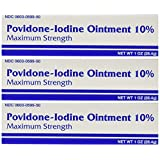 [3 PACK] Major Povidine Iodine USP 10% First Aid Ointment 1 Oz / 28.35gm For Cuts, Scrapes & Burns **Compare to the same active ingredients in Betadine Ointment & Save!**