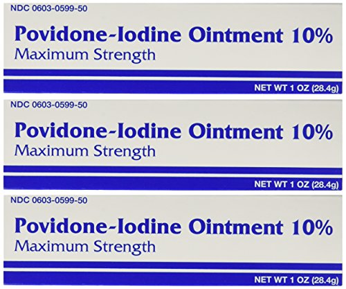 (Major Pharmaceuticals Povidine Iodine USP First Aid Ointment for Cuts, Scrapes and Burns, 3 Count)