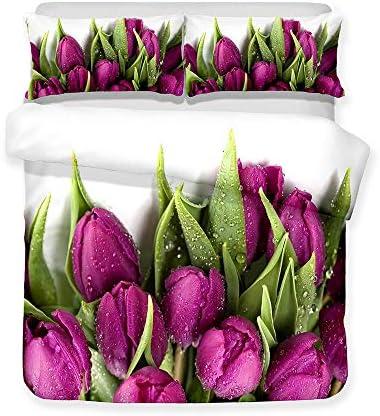 CHEBED Lit avec Housse De Couette 3D Impression Multicolor des Fleurs Hypoallergénique Linge De Maison Parure De Draps 4 Pièces pour Lit_150x200cm