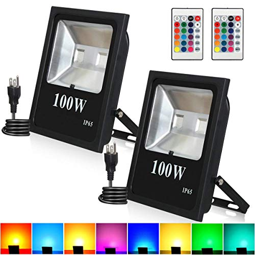 Stage 2 Lighting - 100W RGB LED Flood Lights, T-Sunrise Outdoor Color Changing Floodlight with Remote Control, IP65 Waterproof 16 Colors 4 Modes Wall Washer Light, Stage Lighting with US 3-Plug (2 Pack)