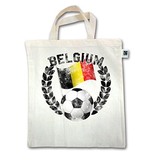 Fußball-Weltmeisterschaft 2018 - Belgium Flagge & Fußball Vintage - Unisize - Natural - XT500 - Jutebeutel kurzer Henkel 4q918vX