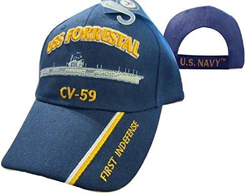 Gorra de fútbol americano azul marino USS Forrestal CV-59 First ...