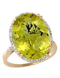 10k Yellow Gold Natural Lemon Quartz Ring Large Oval 18x13mm Diamond Halo, sizes 5-10