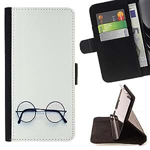 - Glasses - - Monedero pared Design Premium cuero del tir?n magn?tico delgado del caso de la cubierta pata de ca FOR HTC DESIRE 816 Funny House
