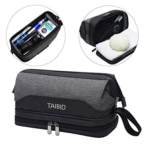 TAIBID Travel Toiletry Bag – Wash Shaving Bathroom Organizer Dopp Kit with Double Compartments for Men and Women, Grey