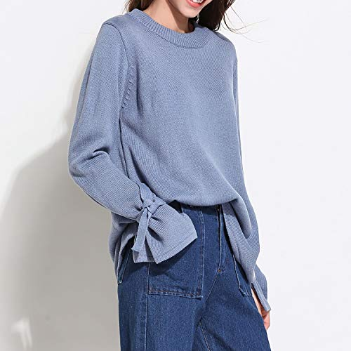 Col Doux Manche Bleu Longue Valin YJ031 Tricot Femme Vrac Pull Sweater en Rond vnY1HR