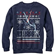 Star Wars Men's Ugly Christmas Sweater Duel Navy Blue Sweatshirt