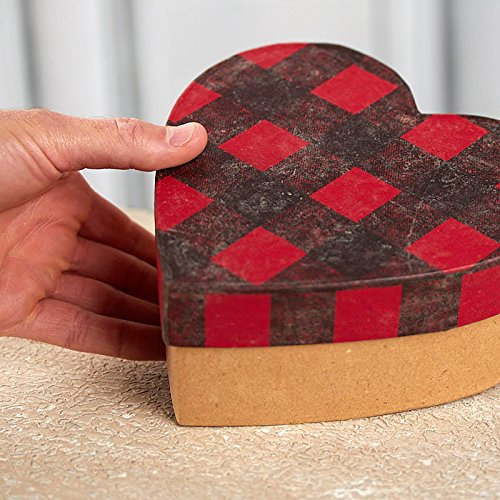 Factory Direct Craft Paper Mache Heart Shaped Boxes with Buffalo Check - 2 Boxes
