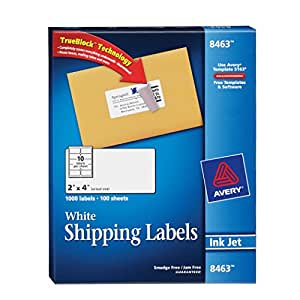 Avery White Mailing Labels for Ink Jet Printers, 2 x 4 Inch, Box of 1000 (8463)