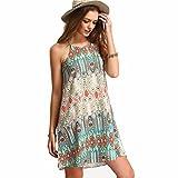 ☀Hot Sale Women Summer Dress Women Retro National Wind Loose Round Neck Sling Sleeveless Dress-Todaies (2XL, Green)
