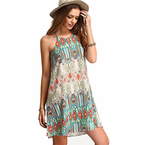 ☀Hot Sale Women Summer Dress Women Retro National Wind Loose Round Neck Sling Sleeveless Dress-Todaies (L, Green) (Today Sale)