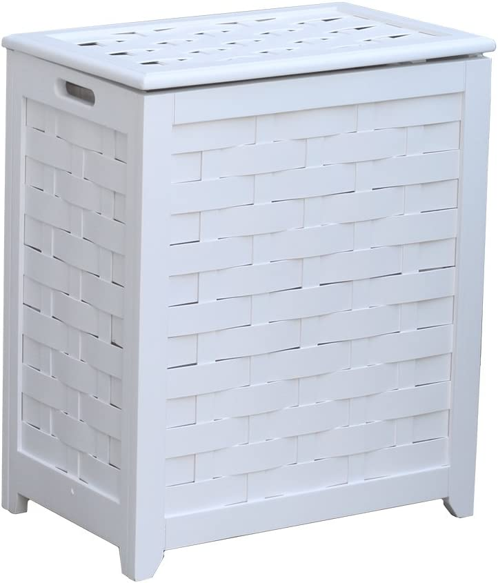 Oceanstar RHV0103W Rectangular Veneer Laundry Wood Hamper, White Finished