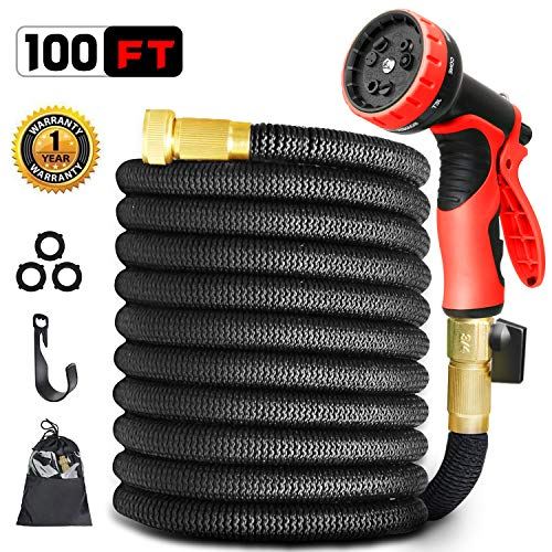 MOSOY 100FT Garden Hose, Expandable Water Hose with 9 Function Spray Pattern Nozzle, 3/4″ All Solid Brass Connector no Rust & Leak, Durable Double Latex Core & Extra Strength – UPGRADED