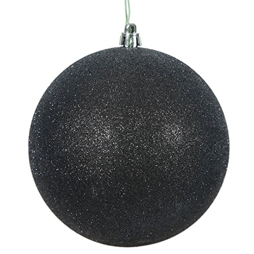 Green Glitter Ball - Vickerman N591517DG Glitter Ball Ornaments with Shatterproof UV Resistant, Pre-drilled cap Secured & green floral Wire in 4 per bag, 6