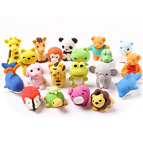 Collectable Eraser - Lsushine 20 Animal Collectible Set of Random Adorable Animals Erasers Best for Kids Fun and Games