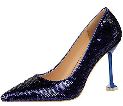 Vedettävä Korkokenkiä Teräväkärkiset Pumput Weenfashion kengät Sininen Solid Naisten Kengät Paljetteja HPfgnnxSwq