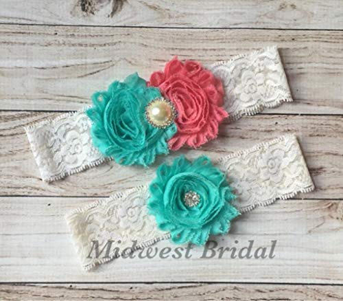 Handmade Wedding Garter - Handmade Ivory or white Lace Mint Coral Custom Handmade Wedding Garter Vintage