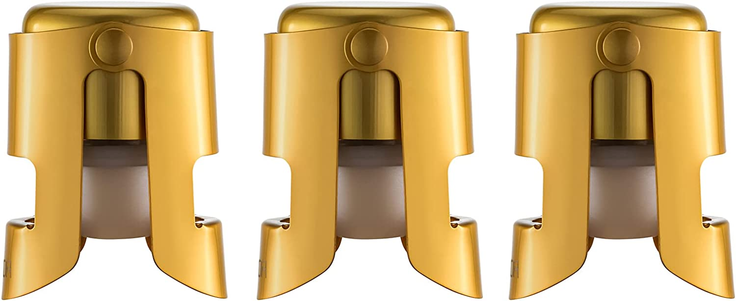 WOTOR Champagne Stoppers with Stainless Steel Champagne Saver with Food Grade Silicone Leak proof Keep Fresh Suitable for Champagne, Cava, Prosecco and Sparkling (Gold)