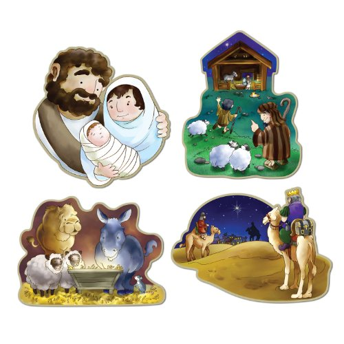 Sheep Nativity Costumes (Beistle 4-Pack Nativity Cutouts, 16-Inch)