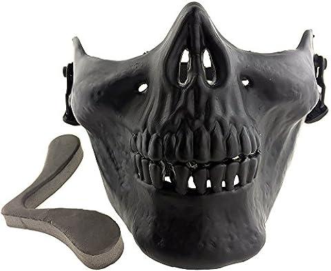 SportPro M03 Skull Skeleton Half Face Mask for Airsoft - Black