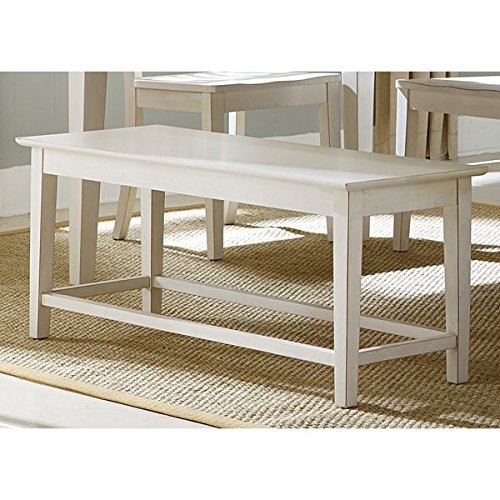 Bench in Tapered Legs Rubbed Linen Contemporary White Dining Bench - 44 in Width x 16 in Depth x 18 in Height