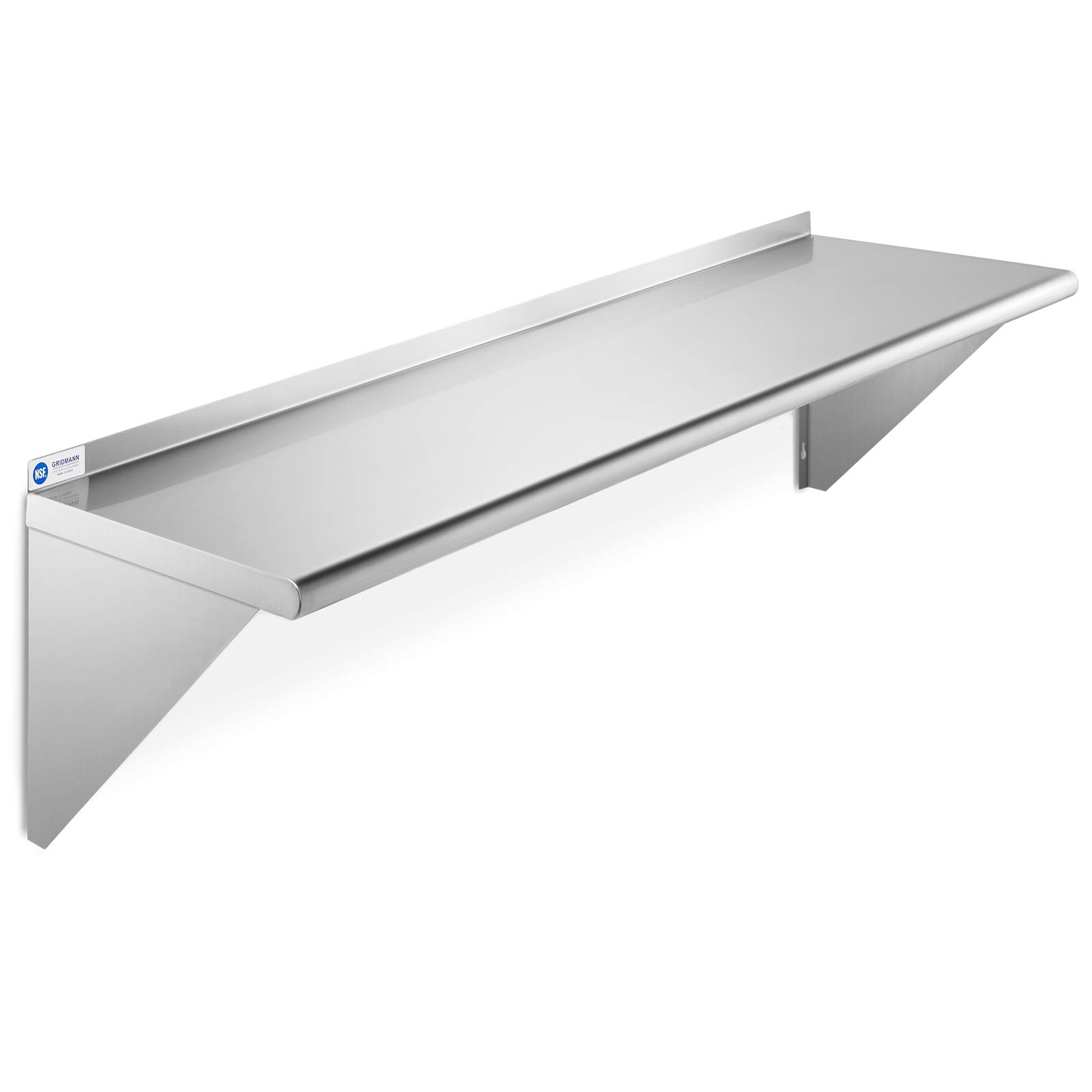 GRIDMANN NSF Stainless Steel Kitchen Wall Mount Shelf Commercial Restaurant Bar w/Backsplash - 12'' x 48'' by GRIDMANN
