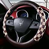 "Movement Fashion Steering Wheel Cover Universal Fit 38cm / 15"" PVC Leather Soft Breathable Car Protector (Beige&Coffee)"