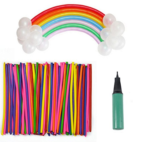 Magic Balloons Kits, 200 Pcs 260Q Animal Balloons Rainbow Colored Thickening Latex Modeling Twisting Balloons with Balloon Pump for Animal Shape Weddings, Birthdays Clowns, Birthday Party Decorations
