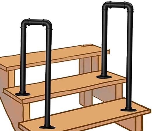 Barandilla de escalera de 2/4 escalones, barandilla de escalera negra de hierro forjado industrial, barandilla de parque de porche exterior para interiores, barandilla antideslizante de seguridad pa: Amazon.es: Hogar
