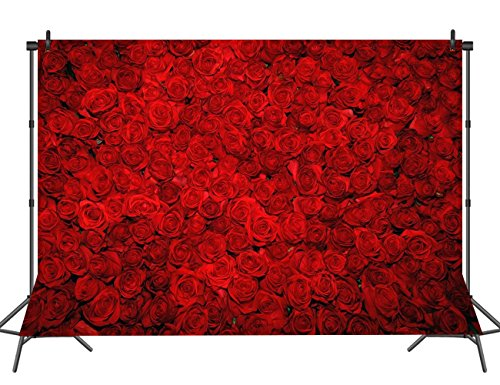 Sensfun 7X5ft Red Rose Wall Backdrop Flowers Wedding Banner Decoration Bridal Shower Newborn Photo Studio Booth Props