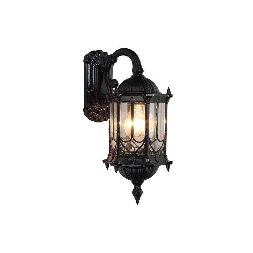 Lampada da parete per esterni europea Parete per esterni impermeabile Lanterna per decorazione Balcone per corridoio Plafoniera da parete in vetro con finitura anticata (Colore   nero-Down)