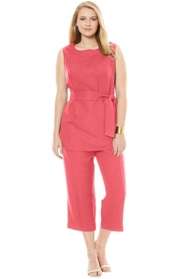 Jessica London Women's Plus Size Linen Blend Capri Set Coral Rose,22
