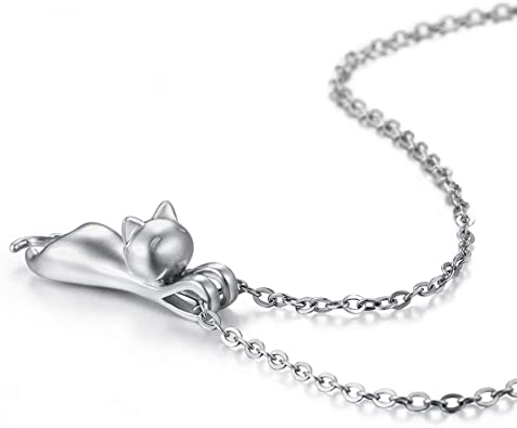 Kitty /& red heart necklace sterling silver chain matte silver plated cat charm