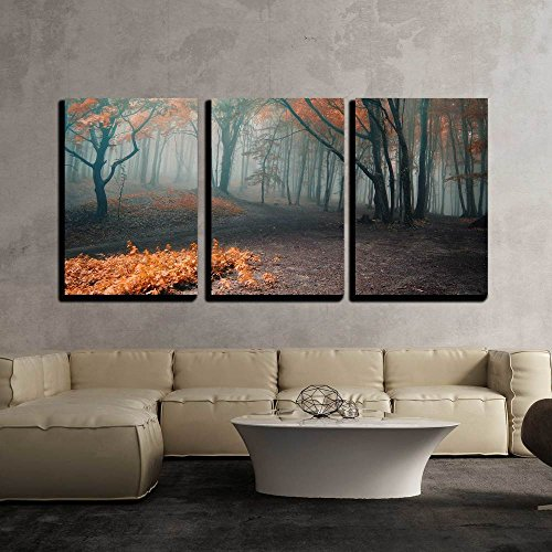 Tree Framed Wall (wall26 - 3 Piece Canvas Wall Art - Trees with Red Leafs in a Mysterious Fantasy Forest with Fog - Modern Home Decor Stretched and Framed Ready to Hang - 24