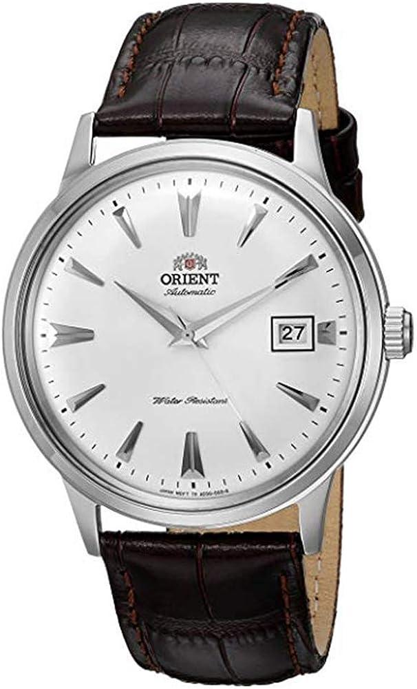 Reloj de vestir con movimiento automático japonés, correa de cuero marrón y formato de acero inoxidable, de Orient Men (segunda generación)versión Bambinoy modelo FAC00005W0)-