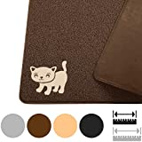 "Smiling Paws Pets Cat Litter Mat, BPA Free, XL Size 35"" x23.5"", Non-Slip - Tear & Scratch Proof, Easy to Clean Kitty Litter Catcher with Scatter Control (Extra Large Brown)"