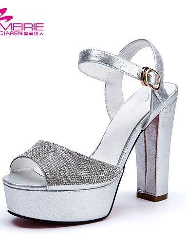 Leather Women's Toe Patent Heels golden ShangYi Shoes Sandals Chunky MeiRie'S Open Peep Heel Toe Glitter vIxqvt5Aw