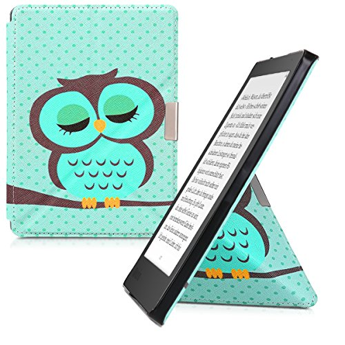 kwmobile Cover case for Kobo Aura Edition 2 with stand - Ultra slim case made of synthetic leather Sleeping Owl in turquoise brown mint by kwmobile (Image #10)