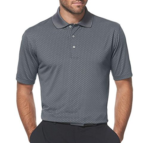 PGA TOUR Men's Mini Jacquard Golf Short Sleeve Polo (Small, Caviar)